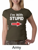 Stupid Shirt I�m With Stupid White Print Ladies Crew Neck Shirt