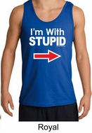 Stupid Tank Top I�m With Stupid White Print Adult Tanktop