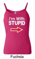 Stupid Tank Top I�m With Stupid White Print Ladies Spaghetti Tanktop