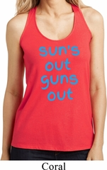 Suns Out Guns Out Ladies Shimmer Loop Back Tank Top