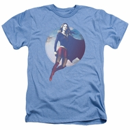 Supergirl Shirt Cloudy Circle Heather Light Blue T-Shirt