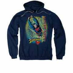 Superman Hoodie Break Through Navy Sweatshirt Hoody