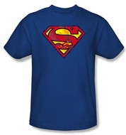 Superman Kids T-shirt Action Shield Superhero Royal Blue Tee Youth