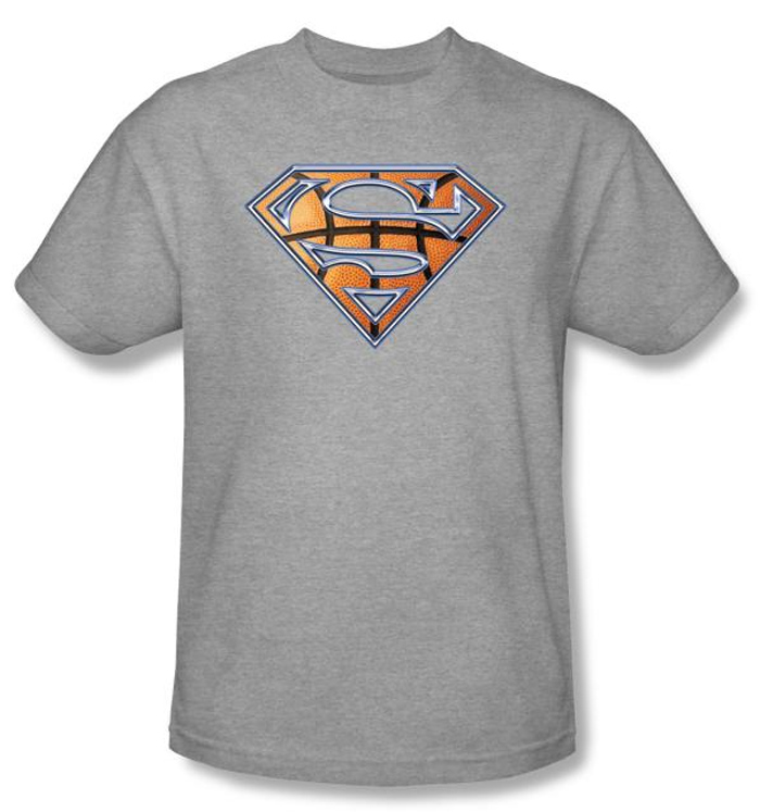 superman kids t shirt basketball shield heather gray tee