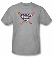 Superman Kids T-shirt Crossed Baseball Bats Athletic Heather Tee Youth