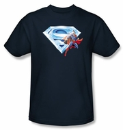 Superman Kids T-shirt Crystal Logo Shield Navy Blue Tee Youth