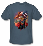 Superman Kids T-shirt DC Comics American Flag Hero Slate Tee Youth