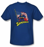 Superman Kids T-shirt DC Comics American Flag Royal Blue Tee Youth