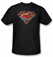 Superman Kids T-shirt DC Comics Breaking Chain Logo Black Tee Youth