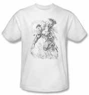 Superman Kids T-shirt DC Comics Pencil City Sketch White Tee Youth