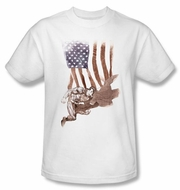 Superman Kids T-shirt DC Comics Super American Flag White Tee Youth