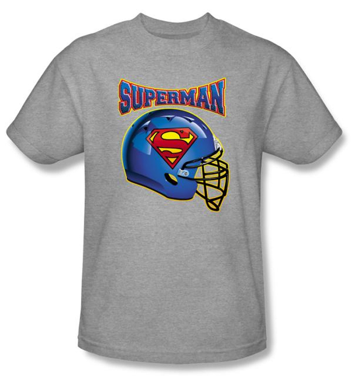 Superman Kids T Shirt Football Helmet Gray Tee Youth