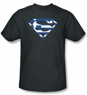 Superman Kids T-shirt Greek Shield Logo Navy Blue Tee Youth