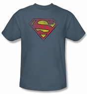 Superman Kids T-shirt Inside Shield Slate Blue Superhero Tee Youth
