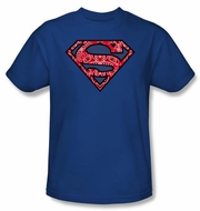 Superman Kids T-shirt Paisley Shield Logo Royal Blue Tee Youth