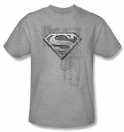 Superman Kids T-shirt Riveted Metal Logo Heather Gray Tee Youth