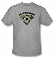 Superman Kids T-shirt Soccer Ball Shield  Heather Gray Tee Youth