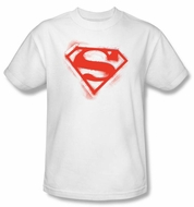 Superman Kids T-shirt Spray Paint Shield White Superhero Tee Youth