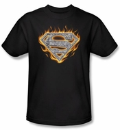 Superman Kids T-shirt Steel Fire Shield Logo Black Tee Shirt Youth