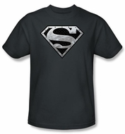 Superman Kids T-shirt Super Metallic Shield Charcoal Gray Tee Youth