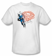Superman Kids T-shirt Superhero American Flag White Tee Youth