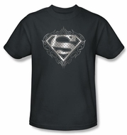 Superman Kids T-shirt Tribal Steel Logo Charcoal Gray Tee Youth