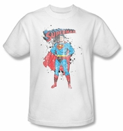 Superman Kids T-shirt Vintage Ink Splatter White Tee Youth