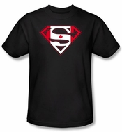 Superman Logo Kids Shirt Canadian Shield Canada Maple Leafs Black Tee