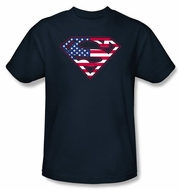 Superman Logo Kids Shirt USA Patriotic Flag Shield Youth Navy Blue Tee