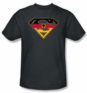 Superman Logo Kids T-Shirt German Shield Charcoal Gray Tee Youth