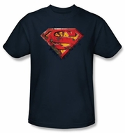 Superman Logo Kids T-Shirt Rusted Shield Navy Blue Tee Youth