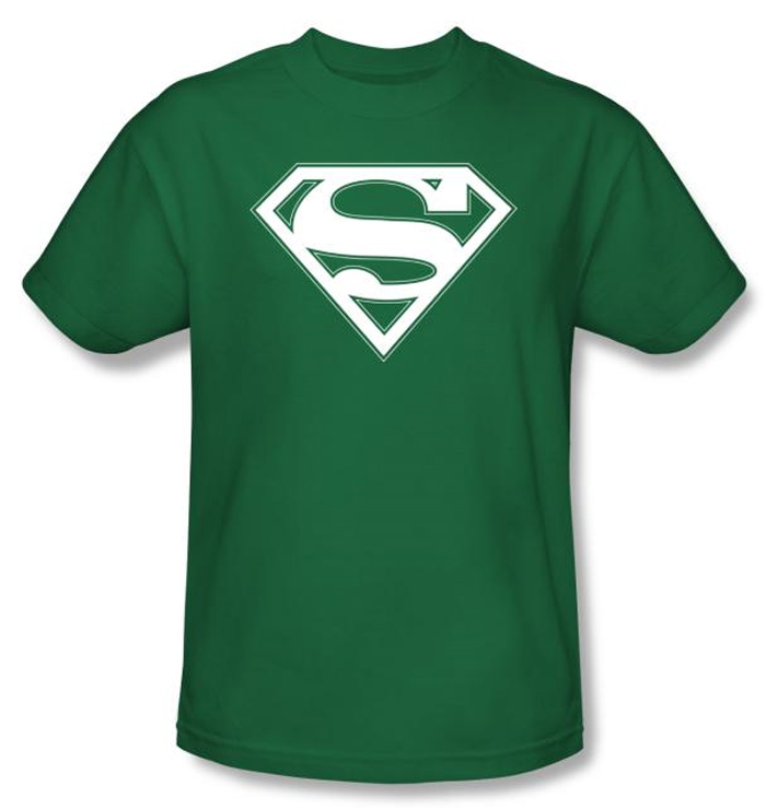 Superman Logo Shirt Green And White College Kelly Green T