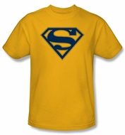 Superman Logo T-Shirt Navy And Gold Shield Gold Adult Tee Shirt