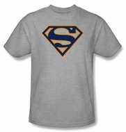Superman Logo T-shirt Navy and Orange Shield Heather Gray Tee Shirt