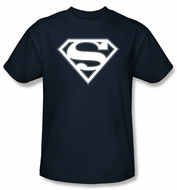 Superman Logo T-Shirt Navy And White Shield Adult Navy Blue Tee Shirt