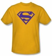 Superman Logo T-shirt Purple And Gold Shield Adult Gold Tee Shirt