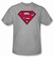Superman Logo T-Shirt Red And Black Shield Adult Grey Tee Shirt