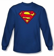 Superman Long Sleeve T-shirt Classic Logo Shield Adult  Royal Blue Tee