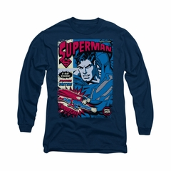 Superman Shirt Action Packed Long Sleeve Navy Tee T-Shirt