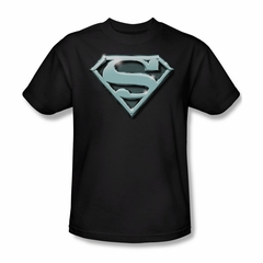 Superman Shirt Chrome Shield Black T-Shirt