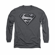 Superman Shirt Duct Tape Shield Long Sleeve Charcoal Tee T-Shirt