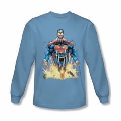 Superman Shirt Explosions Long Sleeve Carolina Blue Tee T-Shirt