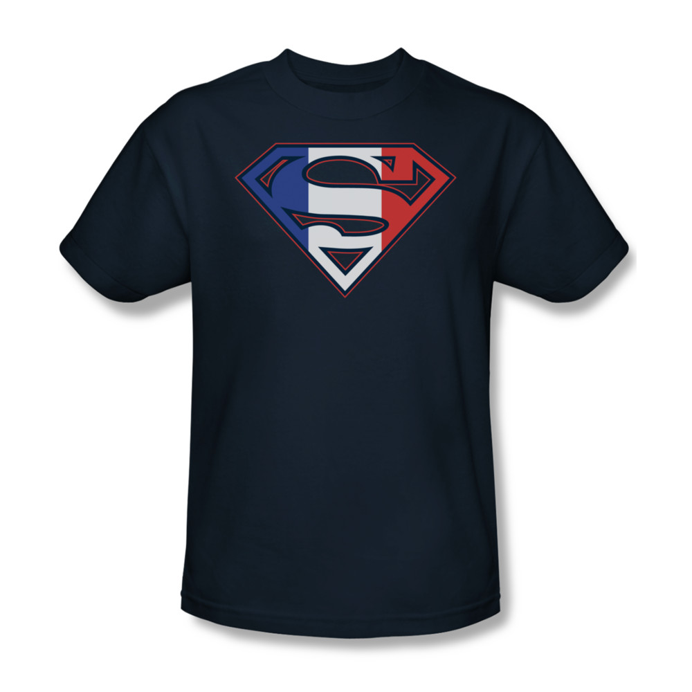 superman shirt french shield navy t shirt superman. Black Bedroom Furniture Sets. Home Design Ideas