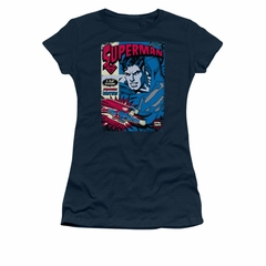 Superman Shirt Juniors Action Packed Navy T-Shirt