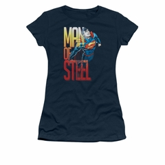 Superman Shirt Juniors Steel Flight Navy T-Shirt
