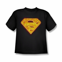 Superman Shirt Kids Hot Steel Shield Black T-Shirt