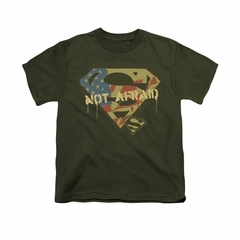 Superman Shirt Kids Not Afraid Olive T-Shirt