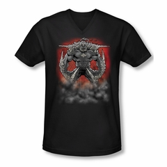 Superman Shirt Slim Fit V-Neck Doomsday Dust Black T-Shirt