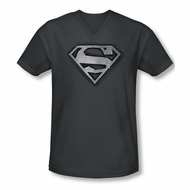 Superman Shirt Slim Fit V-Neck Duct Tape Shield Charcoal T-Shirt