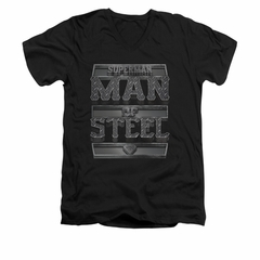 Superman Shirt Slim Fit V-Neck Steel Text Black T-Shirt